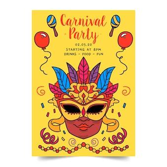 Plantilla de cartel de fiesta de carnaval dibujado a mano