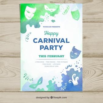 Plantilla de cartel para fiesta de carnaval en estilo de acuarela