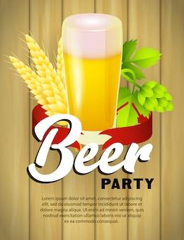 Plantilla de cartel de fiesta de cerveza con vaso de cerveza