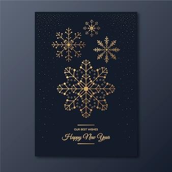 Plantilla de cartel de fiesta de copo de nieve de año nuevo en estilo de contorno