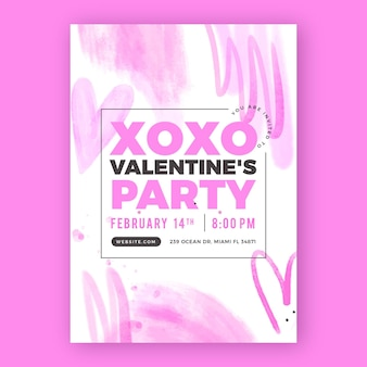 Plantilla de cartel de fiesta de día de san valentín en acuarela