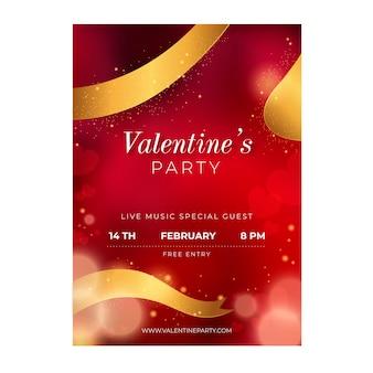 Plantilla de cartel de fiesta de día de san valentín borrosa