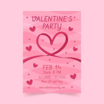 Plantilla de cartel de fiesta de día de san valentín dibujado a mano