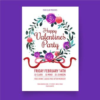 Plantilla de cartel de fiesta de día de san valentín de diseño plano