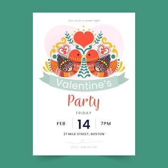 Plantilla de cartel de fiesta de día de san valentín pintado a mano