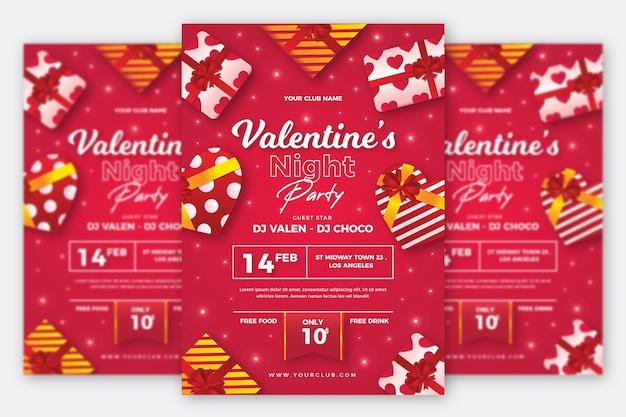Plantilla de cartel de fiesta de día de san valentín realista