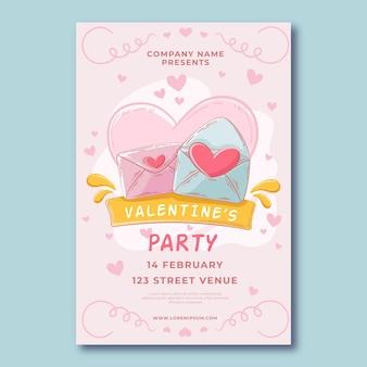 Plantilla de cartel de fiesta de día de san valentín vintage