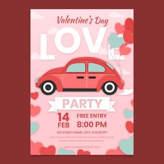Plantilla de cartel de fiesta de día de san valentín