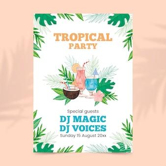 Plantilla de cartel de fiesta de diseño tropical