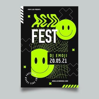 Plantilla de cartel de fiesta de emoji ácido de diseño plano