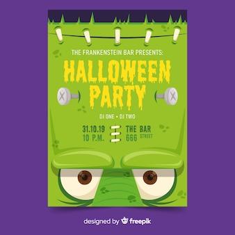 Plantilla de cartel de fiesta de halloween de cara de frankenstein de primer plano