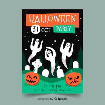 Plantilla de cartel de fiesta de halloween dibujado a mano con fantasmas
