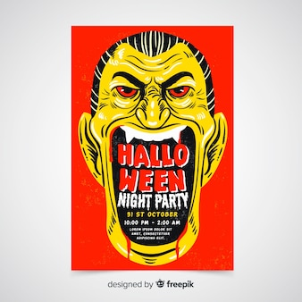 Plantilla de cartel de fiesta de halloween dibujado a mano