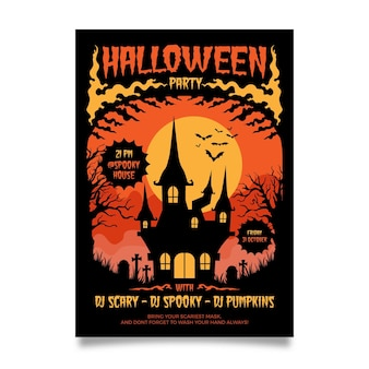 Plantilla de cartel de fiesta de halloween de diseño plano
