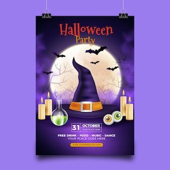 Plantilla de cartel de fiesta de halloween hecha realista