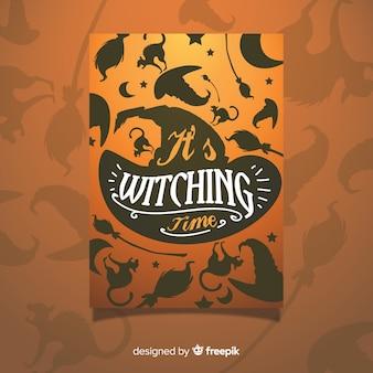 Plantilla de cartel de fiesta de halloween naranja dibujado a mano