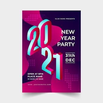 Plantilla de cartel de fiesta isométrica año nuevo 2021