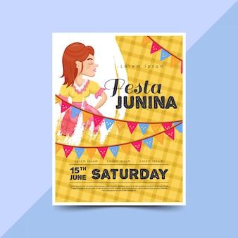 Plantilla de cartel de fiesta junina con mujeres felices.