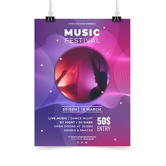 Plantilla de cartel fiesta de música abstracta