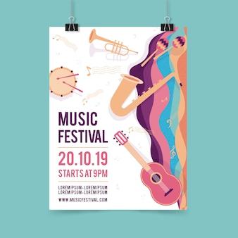 Plantilla de cartel de fiesta de música con instrumento musical