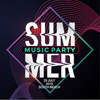 Plantilla de cartel fiesta de música de verano con estilo moderno de neón