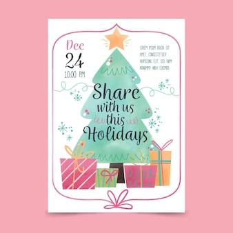Plantilla de cartel de fiesta de navidad en acuarela