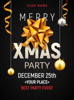 Plantilla de cartel de fiesta de navidad. bolas de navidad oro plata y banner de invitación de decoración de volante de arco dorado.