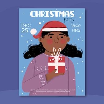Plantilla de cartel de fiesta de navidad dibujada a mano