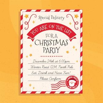 Plantilla de cartel de fiesta de navidad dibujado a mano