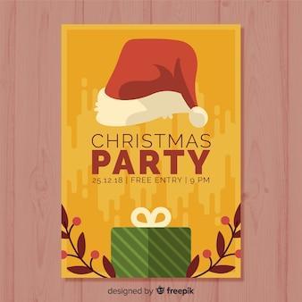 Plantilla de cartel de fiesta de navidad en diseño flat
