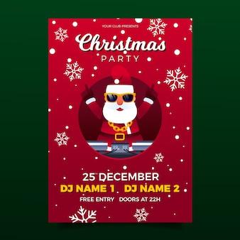 Plantilla de cartel de fiesta de navidad de diseño plano