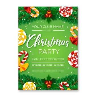 Plantilla de cartel de fiesta de navidad en diseño plano