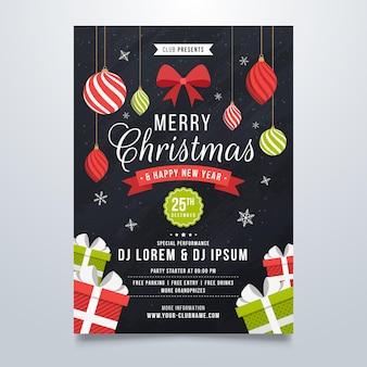 Plantilla de cartel de fiesta de navidad con elementos dibujados