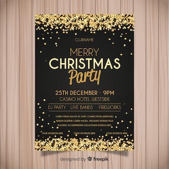 Plantilla de cartel de fiesta de navidad en estilo flat