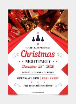 Plantilla de cartel de fiesta de navidad con foto