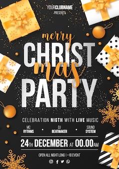 Plantilla de cartel de fiesta de navidad listo para imprimir