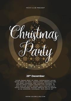 Plantilla de cartel de fiesta de navidad, oro y plata sobre negro con letras escritas