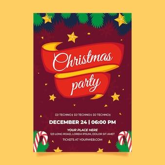 Plantilla de cartel de fiesta de navidad plana