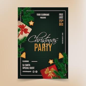 Plantilla de cartel de fiesta de navidad realista