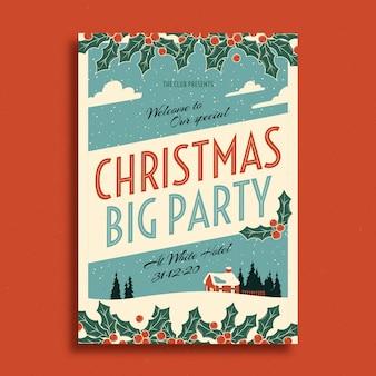 Plantilla de cartel de fiesta de navidad vintage
