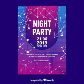 Plantilla de cartel fiesta noche abstracta