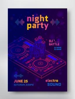 Plantilla de cartel fiesta de noche. Folleto de electro sonido con dj batalla.