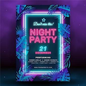 Plantilla de cartel de fiesta de noche de neón