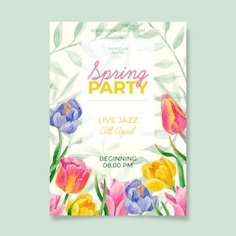 Plantilla de cartel de fiesta de primavera en acuarela
