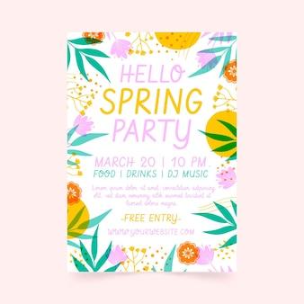 Plantilla de cartel de fiesta de primavera dibujada a mano