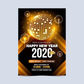 Plantilla de cartel de fiesta realista de año nuevo 2020