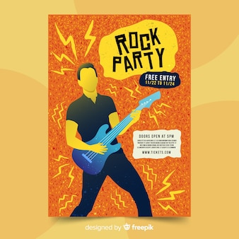 Plantilla de cartel de fiesta de rock dibujado a mano