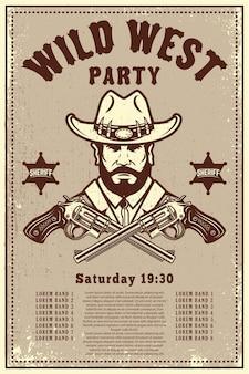 Plantilla de cartel de fiesta del salvaje oeste. sombrero de vaquero con revólveres cruzados. tema del salvaje oeste.