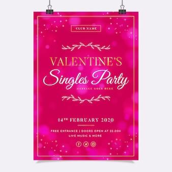 Plantilla de cartel de fiesta de san valentín borrosa