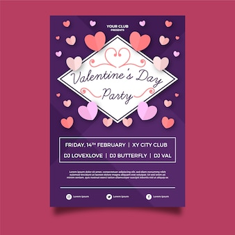 Plantilla de cartel de fiesta de san valentín de diseño plano